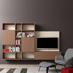 TV media unit Minimalist 3 by Morassutti, comes in matt or wood finishes. Elegant designer furniture for luxury home interior, composition size L 286.5 - D 41 - H 209.1 cm, custom made furniture for living room