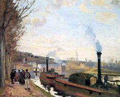 "artist-pissarro: ""The Seine at Port Marly, Camille Pissarro Medium: oil,canvas"" Claude Monet, Mary Cassatt, Oil Canvas, Canvas Art Prints, Paul Gauguin, Vincent Van Gogh, Matisse, Marly Le Roi, Camille Pissarro Paintings"