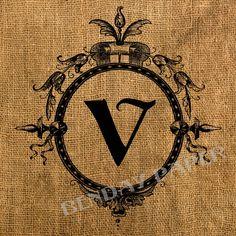 Victorian Monogram Frame V Antique Burlap Feedsack Pillow Illustration Digital Download 8x8