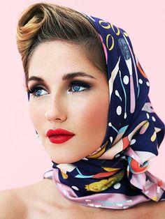 Silk scarves by Karen Mabon Fancy Hairstyles, Scarf Hairstyles, Everyday Hairstyles, Vintage Hairstyles, Hairstyles Videos, Straight Hairstyles, Braided Hairstyles, Wedding Hairstyles, Turbans