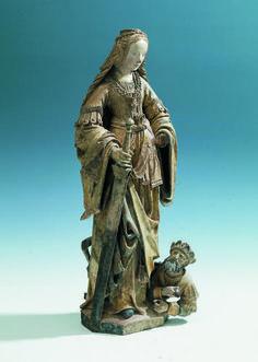 Sainte Catherine. 1520-1530 . hauteur: 61 cm, largeur: 23 cm chêne, Bruxelles, Belgique (?) Pays-Bas méridionaux (?) numéro d'inventaire B00811 partie collection sculpture configuration / source Musée de Breda