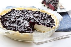 No Bake Blueberry Cheesecake Pie with an almond flour crust - low carb and grain-free