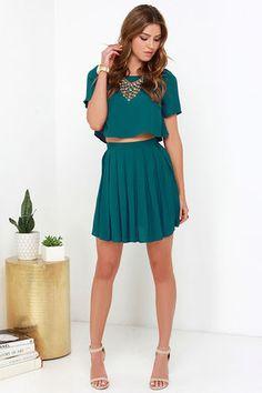 Cute Dark Teal Dress - Two-Piece Dress - Skater Skirt - $62.00