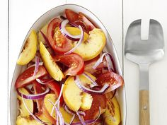 Tomato-Peach Salad (No. 3) : Toss tomato and peach wedges with red onion slices. Drizzle with cider vinegar and olive oil; season with sugar, salt and pepper.