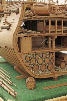 Model Sailing Ships, Old Sailing Ships, Pirate Boats, Pirate Art, Model Ship Building, Boat Building, Scale Model Ships, Scale Models, Wooden Ship
