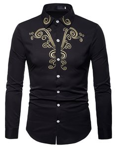 Buy Luxury Gold Embroidery Shirt Men 2018 Brand New Slim Fit Long Sleeve Chemise Homme Casual Button Down Dress Shirts Male Camisas Shirt Embroidery, Gold Embroidery, Flower Embroidery, Casual Shirts For Men, Men Casual, Stylish Shirts, Long Sleeve Tops, Long Sleeve Shirts, White Shirt Men