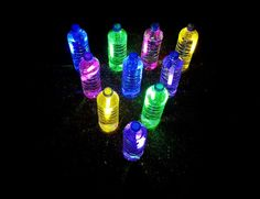 10 water bottles 10 glow sticks in a variety of colors Soccer ball All you have to do is crack the glow stick, and drop it in the bottle. Wahlaw!