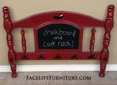 Chunky Twin headboard in distressed Chili Pepper Red with Black Glaze over white primer. Re-purposed into chalk board and coat rack. From Facelift Furniture's Repurposed Wall Pieces collection. wall piec, paint class, chili peppers, twin headboard, class idea, pepper red, crafti idea, black, repurpos wall