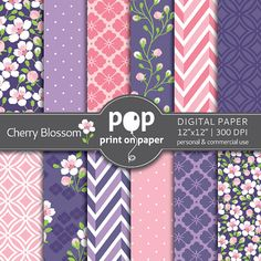 Floral digital paper Cherry Blossom by POP print on paper