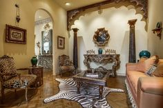 Antique Indian arch, antique Indian columns, and bone inlay coffee table from AOI Home Arched Doors, Panel Doors, Square Columns, Dallas Real Estate, Marble Columns, Contemporary Doors, Small Doors, Geometric Star, Ceiling Panels