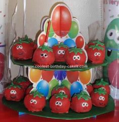 Homemade Bob The Tomato Balls Birthday Cake: This is how I made the Bob The Tomato Balls Birthday Cake:  Prepare your favorite cake in a 13 X 9 pan and allow to cool completely. Divide the cake into
