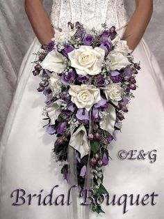 bridal bouquet package silk flowers cascade bridesmaid bouquets groom boutonniere corsage Bridal Bouquet BEAUTIFUL PURPLE PASSION
