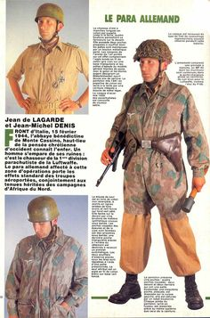 German paratrooper uniform / In conducting regular , the parachutist was wearing the uniform tunic short of aviation, with the tight pants in special depth shoes . Uniformed jump , he wore a kind of jumpsuit with short legs , the Sonderbekleidung , with pockets to zippers. This pullover garment over the uniform short tunic . The helmet of a special model was devoid of edges and lined inside with rubber padding . He weighed 1450 grams , 150 grams more than the standard helmet of the Wehrmacht…