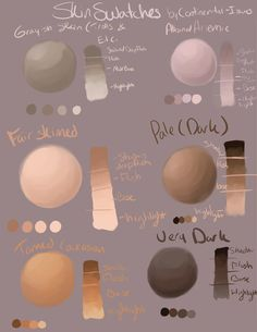 Skin Swatches by Continental-Issues on DeviantArt Digital Painting Tutorials, Digital Art Tutorial, Digital Paintings, Art Tutorials, Painting Process, Painting Tools, Figure Painting, Painting Techniques, Watercolor Skin Tones