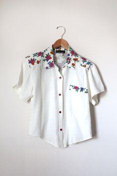 Vintage White Blouse Women's Floral Shirt My Michelle Blouse