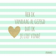 Love & hug Quotes : QUOTATION – Image : Quotes Of the day – Description Heb ik vandaag al gezegd dat ik je lief vind! Sharing is Caring – Don't forget to share this quote ! Hug Quotes, Crush Quotes, Happy Quotes, Words Quotes, Best Quotes, Funny Quotes, Letting Go Of Love Quotes, My Daughter Quotes, Dutch Words
