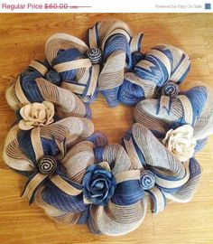 SALE25%OFF Denim Wreath Home Decor by TheCrossedCupcake on Etsy