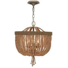 Strands of wooden beads create the bowl shade on this Crystorama Eva 3 Light Chandelier . Natural jute is woven to enhance the organic vibe of. Coastal Chandelier, Silver Chandelier, Lantern Chandelier, Chandelier Ceiling Lights, Pendant Chandelier, Pendant Lights, Nursery Chandelier, Nursery Lighting, Chandelier Ideas