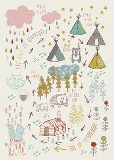 Affiche Déco thème aventure, nature, forêt - Jayne Tiffany. Cute for a baby boy's room.