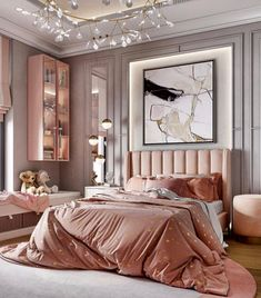 Beautiful luxury pink bedroom decor with channel tufted bed in rose velvet Luxury Bedroom Design, Luxury Rooms, Girl Bedroom Designs, Luxurious Bedrooms, Interior Design, Design Art, Luxury Kids Bedroom, Luxury Decor, Room Interior