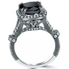 4.28 Carat Cushion Cut Black Diamond Ring 18k Black Gold Pave Halo Vintage Style