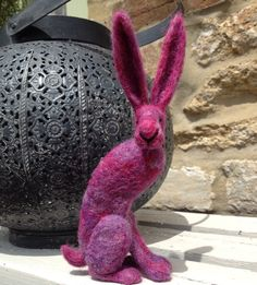 Needle felted hare by Karen Norton Designs on Facebook and Etsy