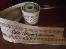 Primitive Jute Burlap Webbing Garland Ribbon Olde Thyme Christmas Red Striped 5'