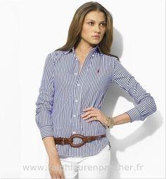 ralph lauren chemises femmes jean blue Chemise Slim Fit Ralph Lauren