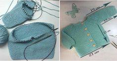 Aprende a hacer una bonita chaqueta de punto para bebé. ¡Un tutorial completísimo! Baby Cardigan Knitting Pattern, Baby Knitting Patterns, Baby Patterns, Tricot Baby, Knitted Hats, Crochet Hats, Baby Vest, Crochet Bikini, Clothes