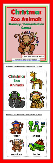 Christmas Zoo Animals Memory / Concentration Games (Color + B+W)