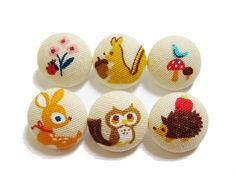 Fabric Covered Buttons - Forest Friends on Tan - 6 Medium Fabric Buttons. $5.75, via Etsy.