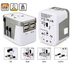 4 USB Port All in One Universal International Plug Adapter World Travel AC Power Charger Adaptor with AU US UK EU Plug