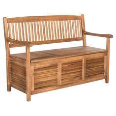 Teak Brown Outdoor Garden Bench With Storage from The Well Appointed House Garden Storage Bench, Outdoor Storage, Wood Storage, Outside Storage Bench, Storage Benches, Storage Area, Bench With Storage, Outdoor Cushions, Outdoor Seating