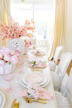 gorgeous pink easter table