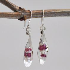 Sterling Petal Earrings With Garnet & Pearl Beads