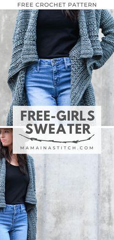 Free Girls Sweater Crochet Pattern This stunning sweater is. - Free Girls Sweater Crochet Pattern This stunning sweater is so easy to crochet - Crochet Motifs, Easy Crochet Patterns, Crochet Shawl, Knit Crochet, Crochet Sweaters, Crochet Pattern Free Cardigan, Sewing Patterns, Vogue Patterns, Vintage Patterns