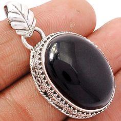 Black Onyx 925 Sterling Silver Pendant Jewelry BOXP868 - JJDesignerJewelry