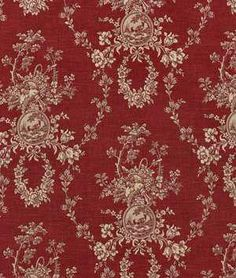 Waverly Country House Toile Red and cream Fabric. very French country, very gorgeous! French Country Kitchens, French Country Bedrooms, French Country Decorating, Country Farmhouse, Cottage Decorating, Cottage Design, French Farmhouse, French Decor, French Country Fabric