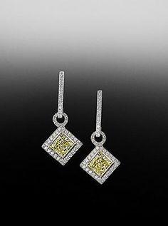 Fancy Yellow diamond pave earrings.  By Bez Ambar.