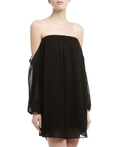 Sexy, sexy, sexy is this Off-The-Shoulder Chiffon Shift Dress by T Bags. $69 (reg$152)