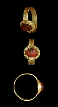 Roman - Gold Ring with Intaglio Gemstone, 2nd century A.D.