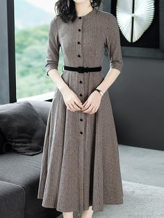 Ladylike Belt Plaid Expansion Women's Skater Dress The most beautiful and newest outfit ideas co Modest Fashion, Hijab Fashion, Korean Fashion, Fashion Outfits, Girly Outfits, Gold Fashion, Chic Outfits, Teen Fashion, Winter Outfits