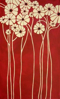 Beautiful botanical-love the deep red background and simplicity of the flowers. great inspiration for art deco bathroom