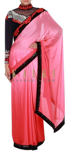 Buy Online from the link below. We ship worldwide (Free Shipping over US$100) http://www.kalkifashion.com/pink-ombre-saree-embellished-in-kardana-only-on-kalki.html