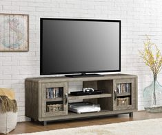 Ameriwood Eastlin Tv Console For Tvs Up To Weathered Oak Brown Cherry Tv Stand, 60 Tv Stand, Tv Stands, Mdf Doors, Charleston Homes, Flat Panel Tv, Entertainment Stand, Weathered Oak, Sliding Glass Door