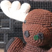 "Crochet Moose  Stands about 8"" tall from bum to top of head (without spoons) Can be made in a lighter shade of brown too"