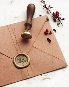"""Papira®: """"How cute does our """"Pine Cone"""" wax seal look here? 🧡 You can use it for your holiday cards, as an extra embellishment to your gift wrappings…"""" Wedding Stationery, Wedding Invitations, Envelope Art, Wax Envelope Seal, Seal Design, Wax Seal Stamp, Wax Letter Seal, Jewelry Packaging, Wedding Cards"""