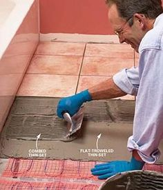 How to Install Electric Radiant Heat Mat Under a Tile Floor. Electric radiant heat mats with wall-mounted thermostats are easy to install under new tile floors and provide comfortable, invisible heat at a reasonable cost. Basement Flooring, Diy Flooring, Basement Bathroom, Bathroom Flooring, Flooring Ideas, Warm Bathroom, Bathroom Plumbing, Heated Floor Mat, Floor Heater