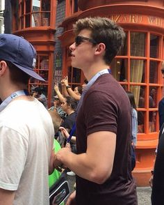 Shawn mendes at universal studios for the Harry Potter ride