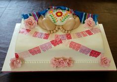 It's a Girl! Caucasian Expecting Mexican Baby Cake